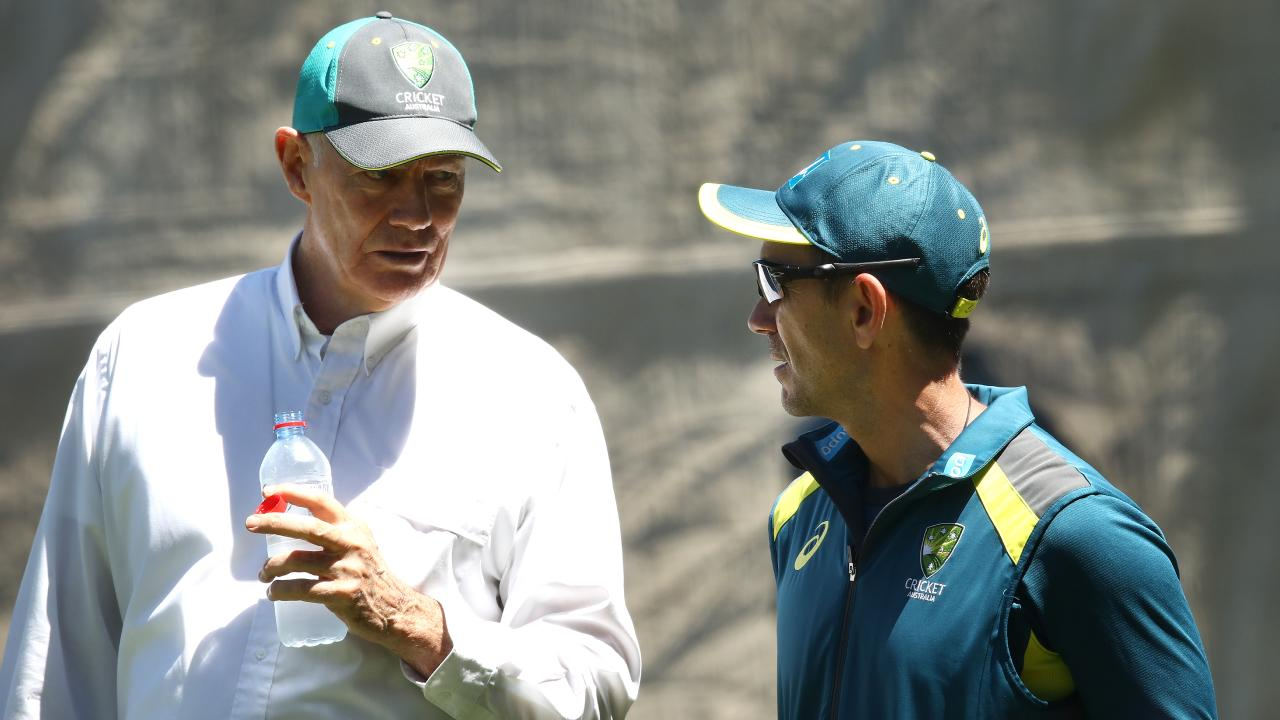 Australian Selector Greg Chappell was back at the nets this week — seen here speaking with coach Justin Langer. Picture: Getty