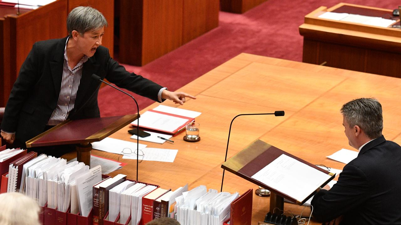 Shadow Minister for Foreign Affairs Penny Wong exploded at Minister for Finance Mathias Cormann after he successfully blocked a bill amendment aimed at protecting gay students from discrimination. Picture: Mick Tsikas/AAP