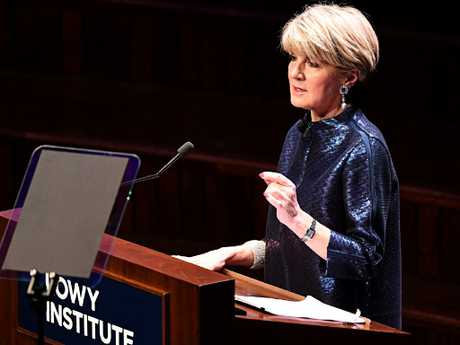 Former foreign affairs minister Julie Bishop at a Lowy Institute lecture and dinner. Picture: AAP