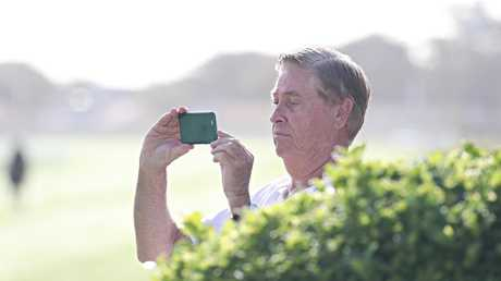 Racecaller Allan Thomas was an interested observor at the gallops.