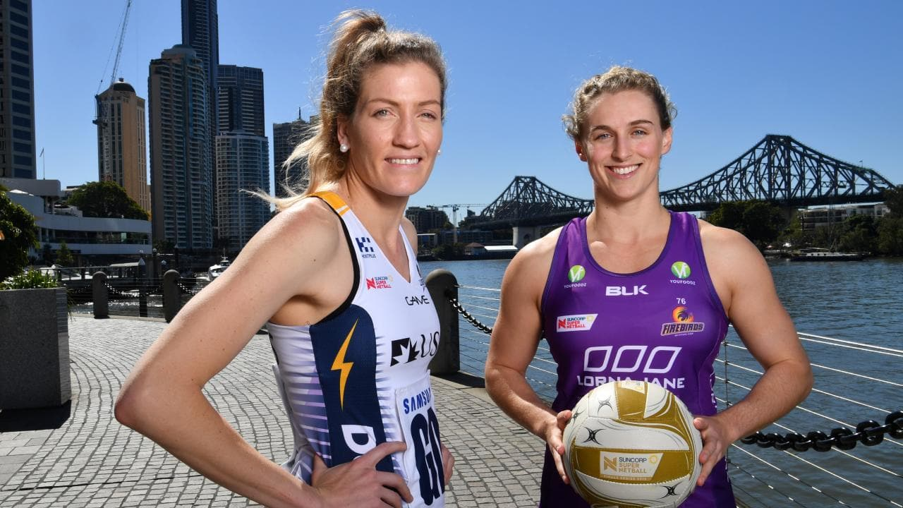 Karla Pretorius (left) of the Sunshine Coast Lightning and Queensland Firebirds' Gabi Simpson are ready for battle. Picture: AAP
