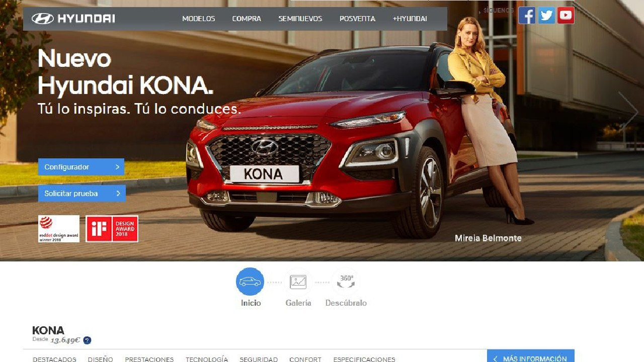 Just across the border in Spain the Kona wears its global badge.