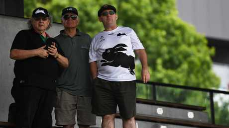 Rabbitohs supporters hang out for a view of the new boss. (AAP Image/Dean Lewins)
