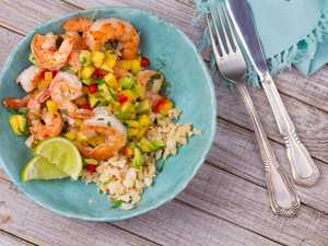 Prawns with mango and avocado salsa