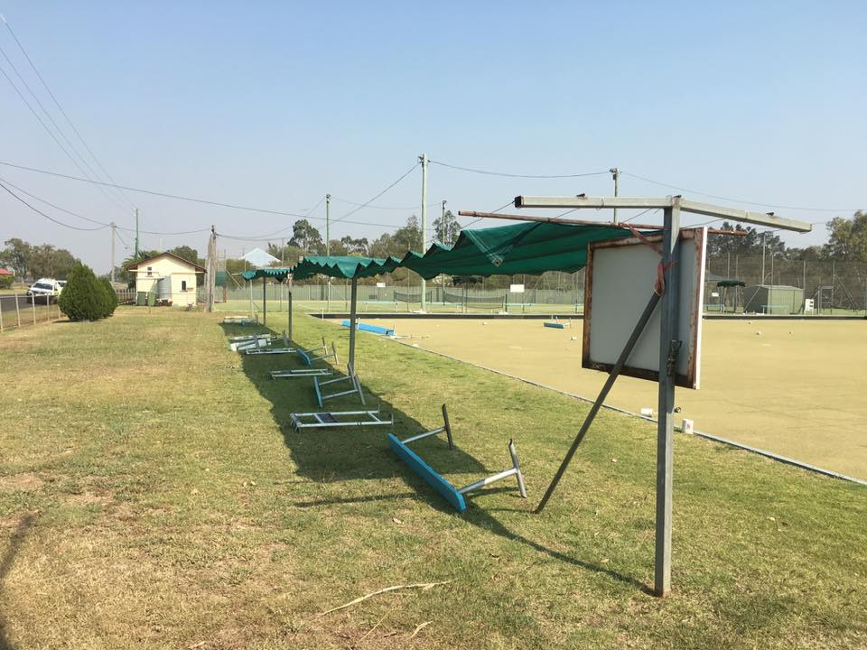 The damage at the Oakey Bowls Club on Sunday morning.