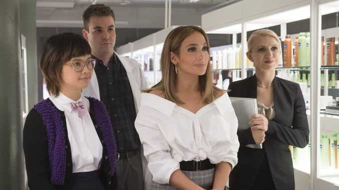 Charlyne Yi, Alan Aisenberg, Jennifer Lopez and Annaleigh Ashford in a scene from Second Act.