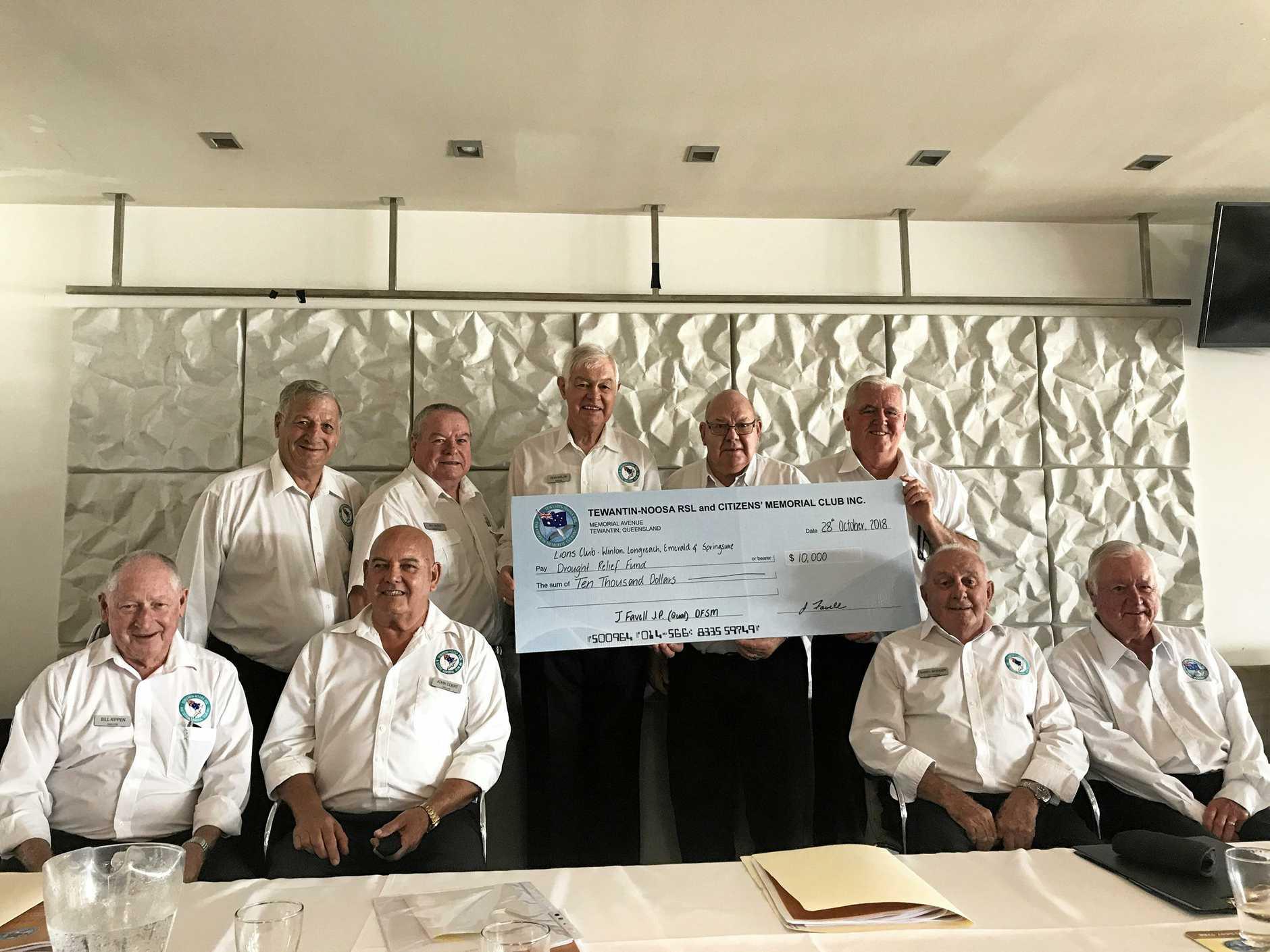 MAJOR BOOST: Tewantin Noosa RSL board announced a $10,000 donation for drought aid.