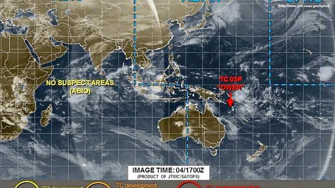 BEARING DOWN: The final cyclone warning from the Joint Typhoon Warning Centre shows the location of ex-tropical cyclone Owen.