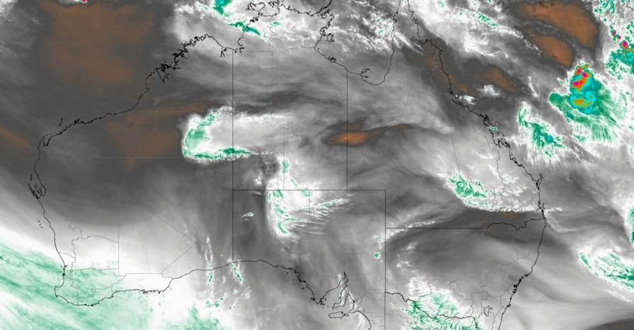 As the remnants of ex-Tropical Cyclone Owen move closer to the coast satellite images show the water vapour moving across the country.