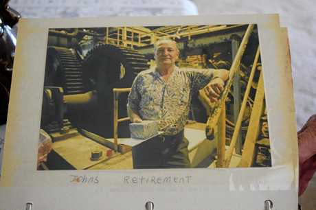 John Hunt, 85, celebrating his retirement in 1996 on his last day working at the Fairymead Mill.