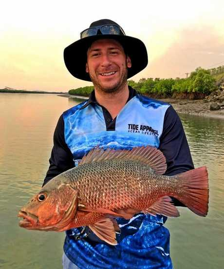 Shaun Walker with his first mangrove jack which was tagged and released.