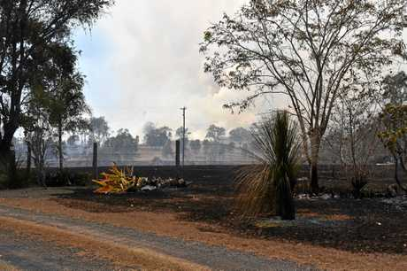 Woolooga grazier Ross McClymont lost about 30ha of grazing grass to the fire that ripped through Woolooga and came dangerously close to his house.