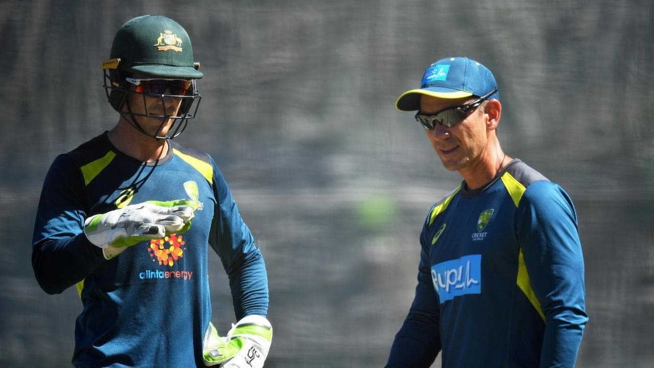 Australian skipper Tim Paine with coach Justin Langer. Picture: Getty Images