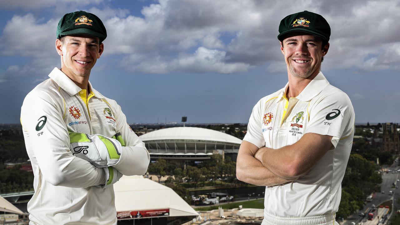 Australian Test captain Tim Paine with South Australian Travis Head. Picture SARAH REED