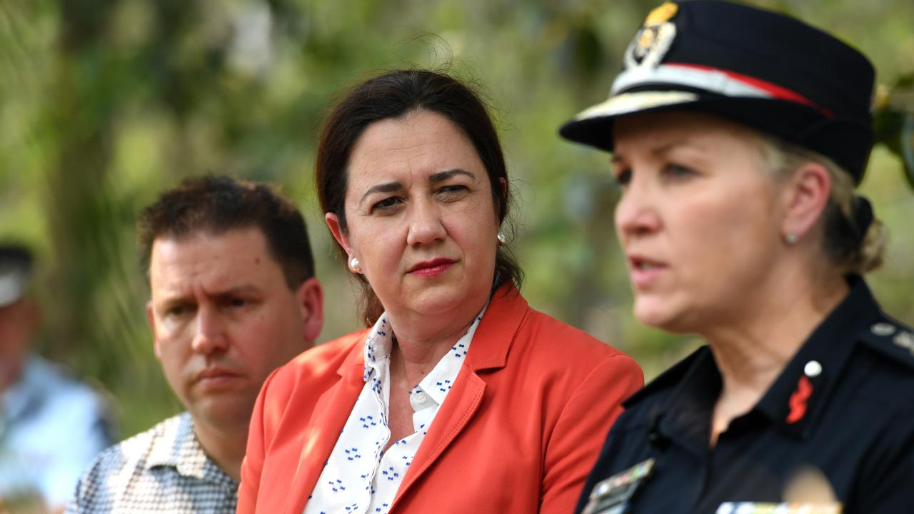 Queensland Premier Annastacia Palaszczuk with Fire and Emergency Services Commissioner Katerina Carroll during a press conference at Miriam Vale last week. Picture: Dan Peled/AAP