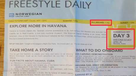 A newsletter distributed to passengers' cabins detailed a new departure time for the ship at the Havana port. Picture: Elliott Advocacy