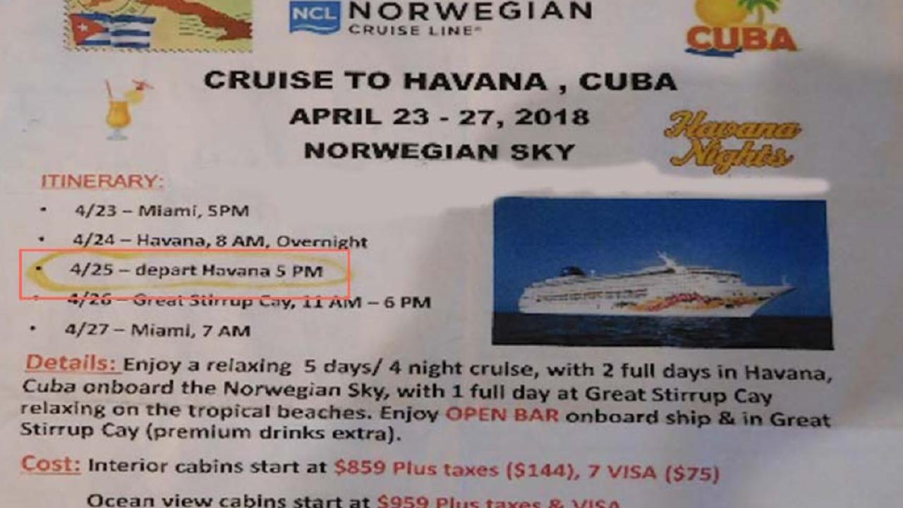 The original itinerary given to Kevin Rohrer and his partner. Picture: Elliott Advocacy