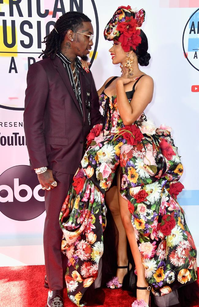 Cardi B looked loved-up with husband Offset just two months ago at the 2018 American Music Awards. Picture: Getty