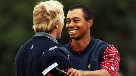 Greg Norman squared off against Tiger in a final day singles match at the 1998 Presidents Cup at Royal Melbourne.