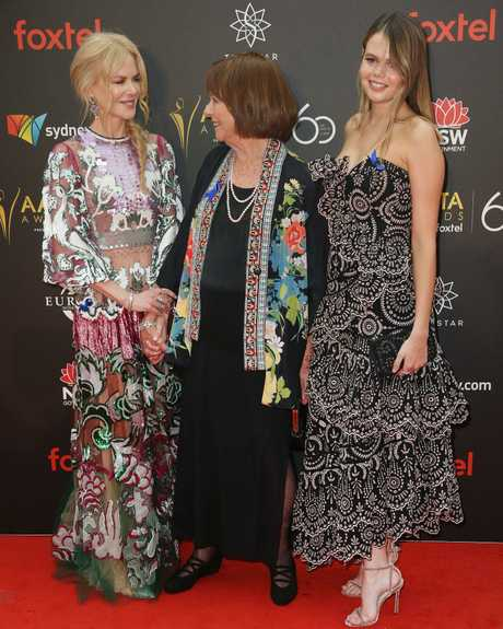 Nicole Kidman with her mother Janelle and niece Lucia at the 2018 AACTA Awards at the The Star in Sydney on Wednesday night. Picture: Richard Dobson