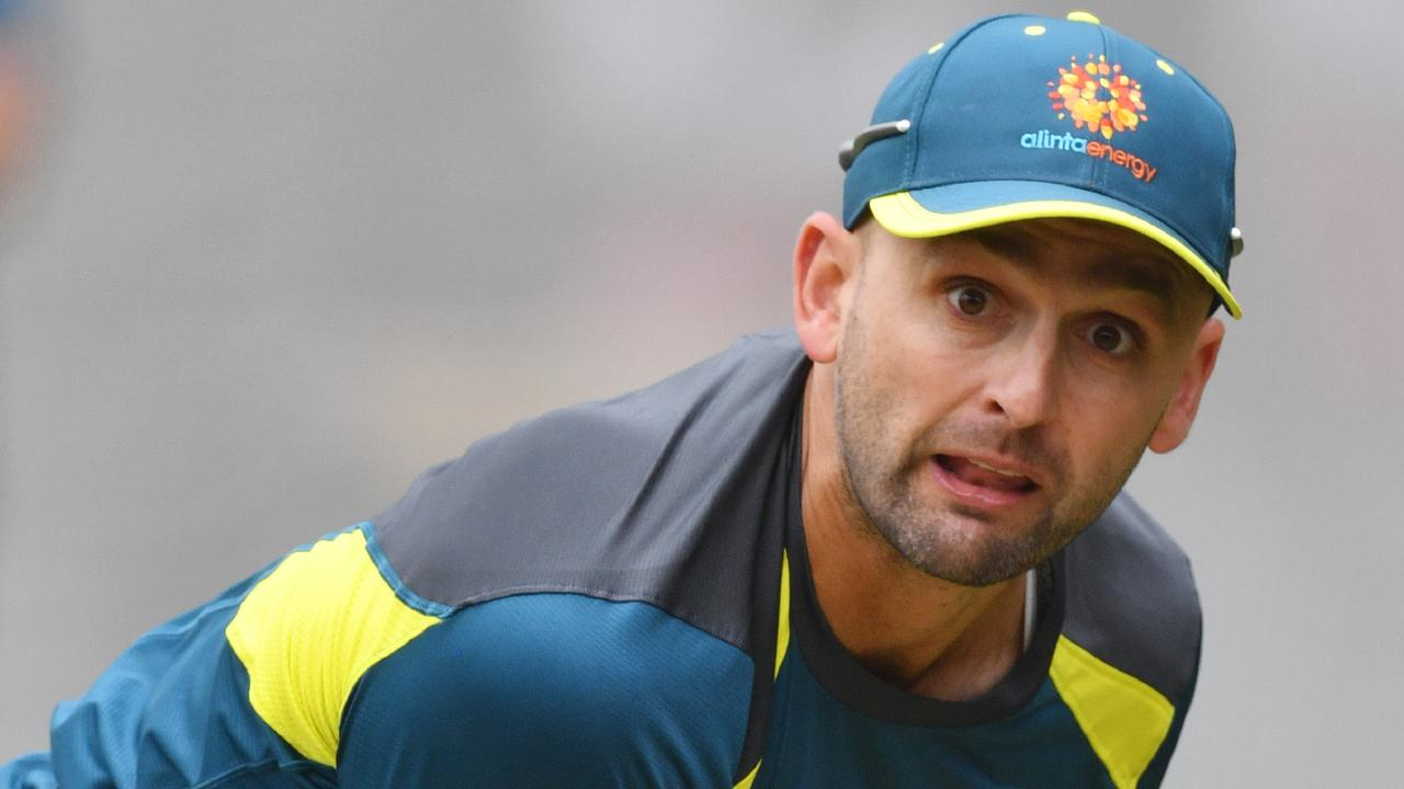Spinner Nathan Lyon shapes a key man for Australia. Picture: AAP