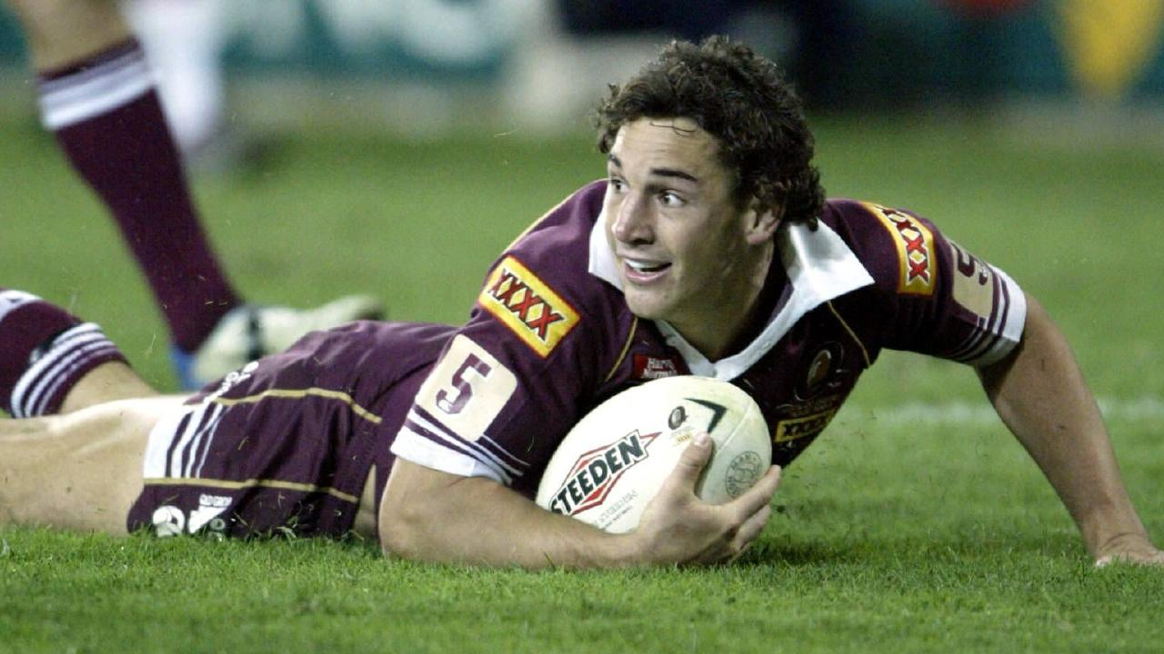 Billy Slater waits for the decision after scoring his infamous try for the Maroons in 2004.