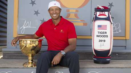 Tiger Woods at Brighton Beach promoting next years Presidents Cup. Picture: Michael Klein