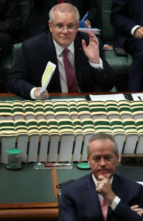 Prime Minister Scott Morrison with the Opposition Leader Bill Shorten. Picture: Gary Ramage