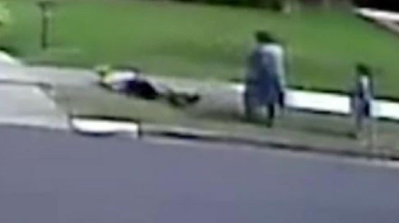 Disturbing footage shows an elderly man being shoved to the ground over a neighbourhood dispute in western Sydney.