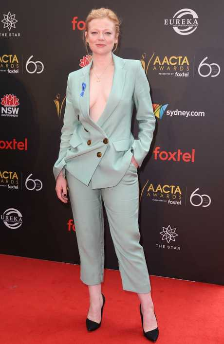 Sarah Snook wore a daring pant suit and said she was proud to represent the Australian industry. Picture: Richard Dobson