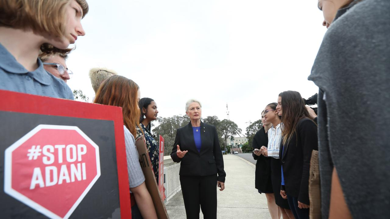 Dr Kerryn Phelps with protesters and students last week. Picture Gary Ramage