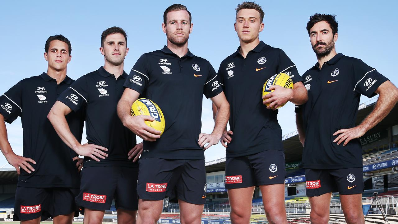 Carlton leaders, from left, Ed Curnow, Marc Murphy, co-captains Sam Docherty and Patrick Cripps, and Kade Simpson. Pic: Getty Images