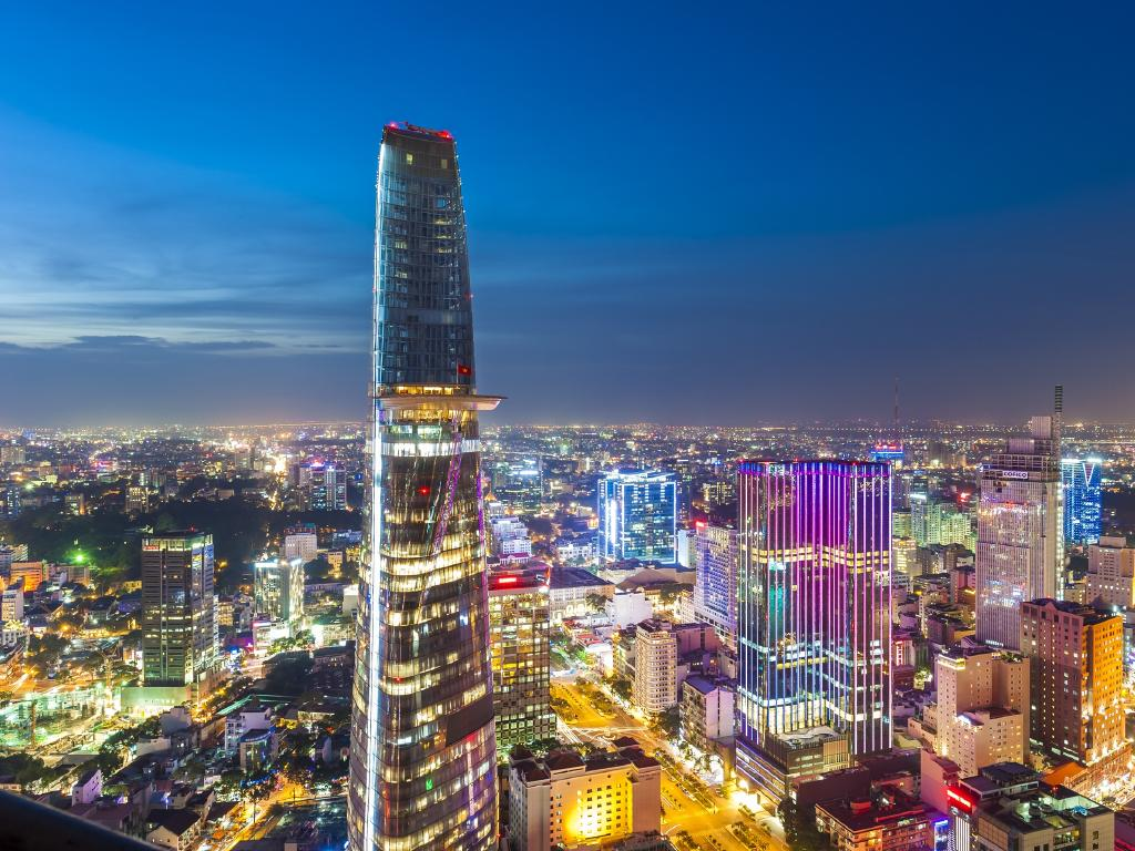 Ho Chi Minh City dazzles at night.