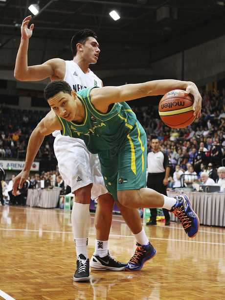 Simmons in action for the Boomers against New Zealand in 2013. Pic: Getty Images