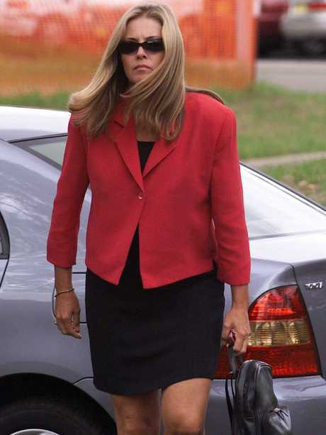 Joanne Curtis, former second wife of Chris Dawson, arrives for inquest into the disappearance of Lyn Dawson at the Westmead Coroners Court in Sydney, 2003. Picture: Glenn Campbell