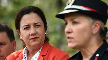 Queensland Premier Annastacia Palaszczuk, with Fire and Emergency Services Commissioner Katerina Carroll, has rejected accusations vegetation management laws were responsible for the fires. Picture: Dan Peled/AAP