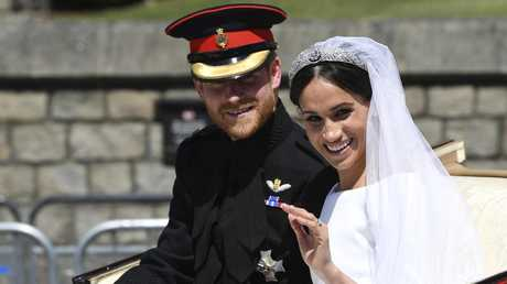 Britain's Duke and Duchess of Sussex on their wedding day. Picture: Paul Ellis/AP