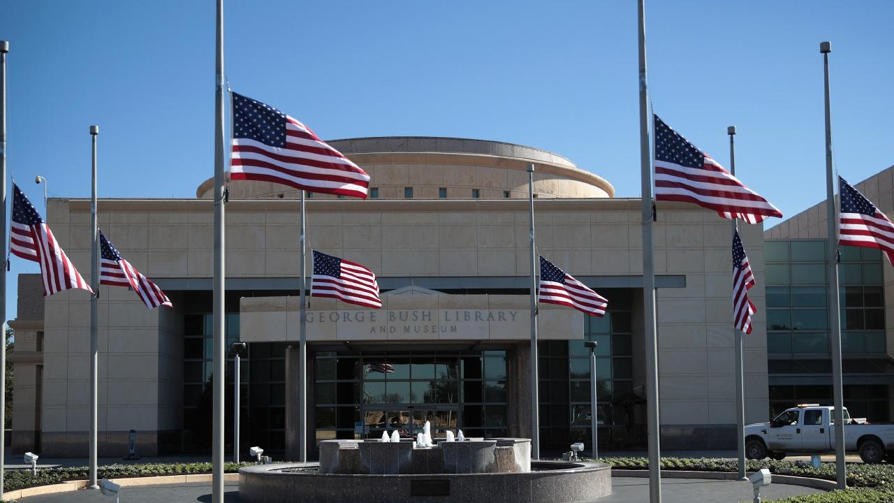 The George H.W. Bush Presidential Library Center on the campus of Texas A&M University, with flags at half mast to mourn his death this week. Picture: Scott Olson/Getty