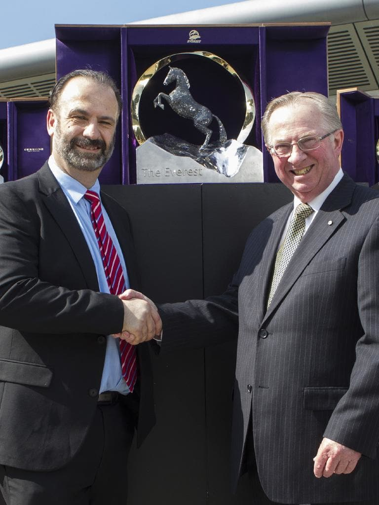 (L-R) Racing NSW CEO, Peter V'landys and Chairman Russell Balding with The Everest trophy. Picture: Hollie Adams