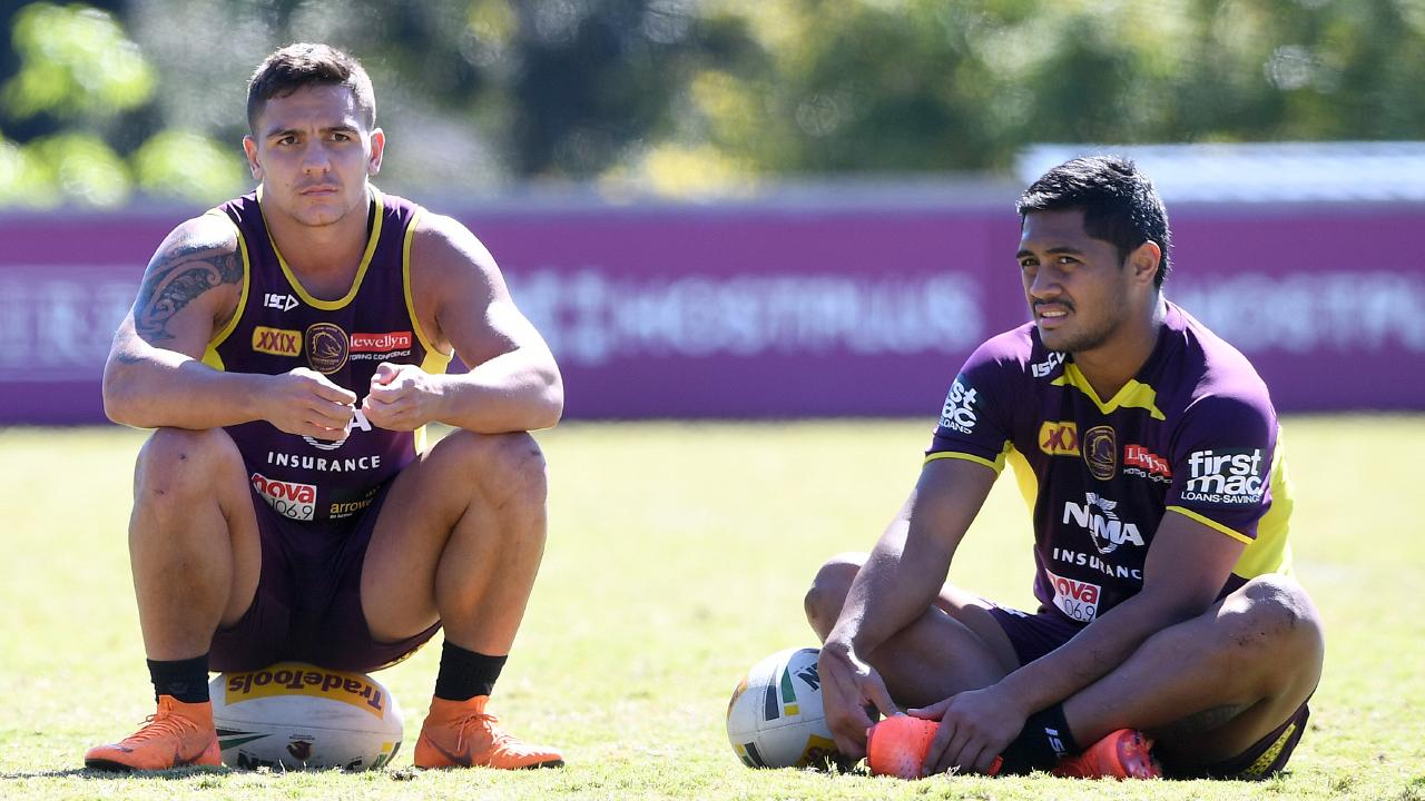 Kodi Nikorima and Anthony Milford have been unable to stamp their authority on the team. (AAP Image/Dave Hunt)