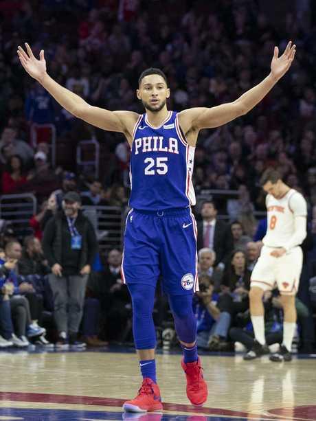 Simmons celebrates a Philadelphia basket last month. Pic: AP