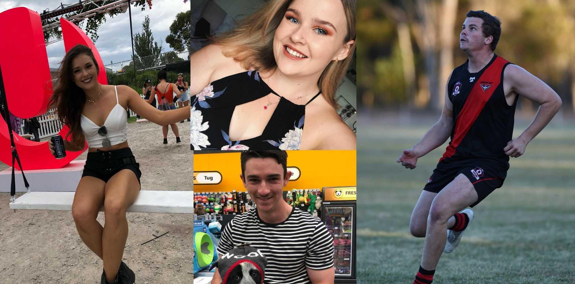ELIGIBLE SINGLES: Fraser Coast singles Catti Butler (left), Caitlin Smith (top), Kieron Hyndman (bottom), Chris Wicks (right).