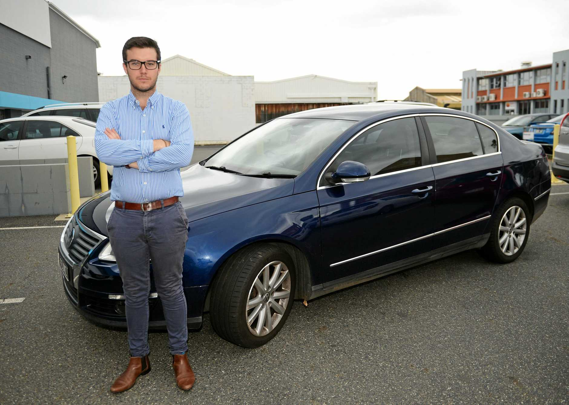 James Allen with the second-hand car he bought from disgraced former car dealer Glen David Mayer.