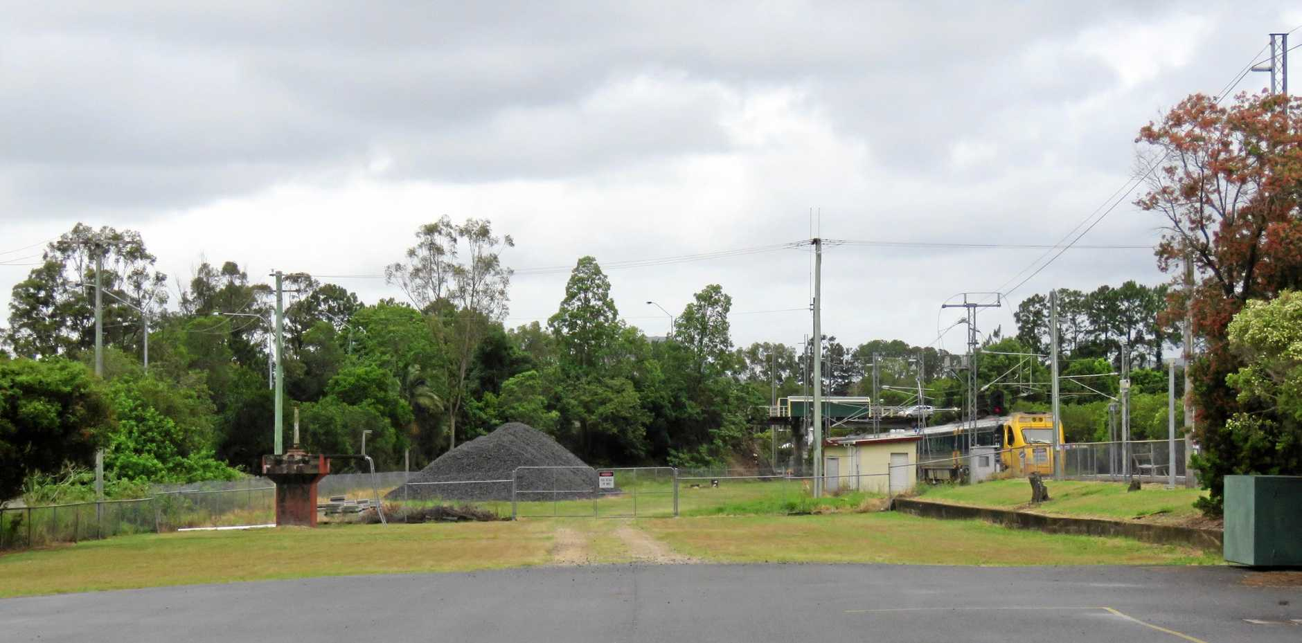 The Queensland Rail-owned land between Elm St and the railway in Cooroy.