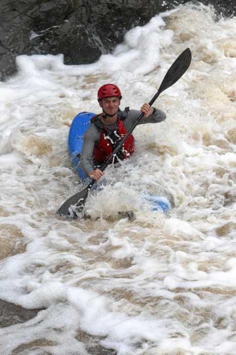 White water kayaks at Wappa Falls, Yandina.  Brett Aramini makes his way down Photo Jason Dougherty / Sunshine Coast Daily
