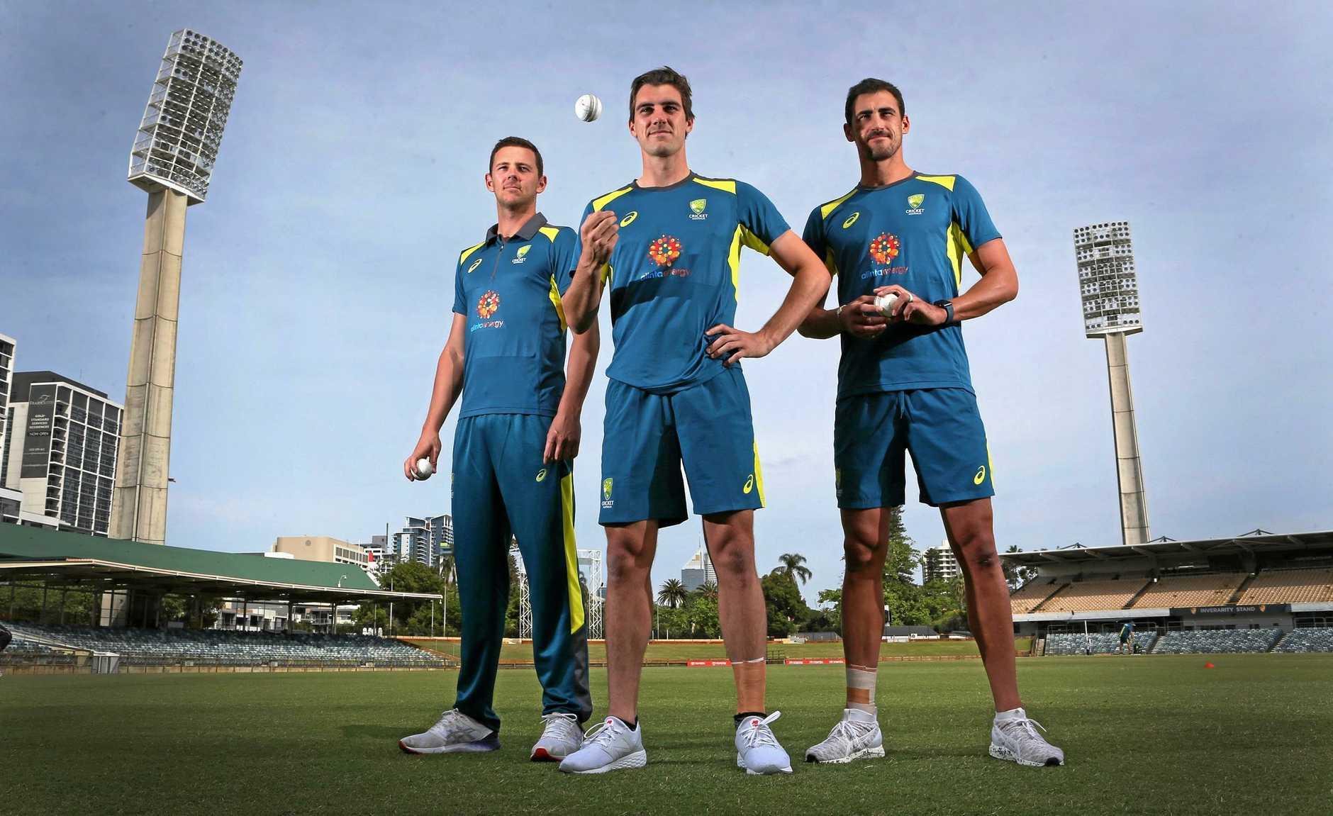 Key trio ... Australian bowlers Josh Hazlewood, Pat Cummins an Mitch Starc.