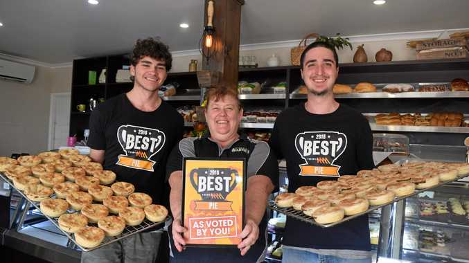 BEST PIES: Jye Minns, Georgina Covery and Robert Day from Fairbairn Pies, Emerald.