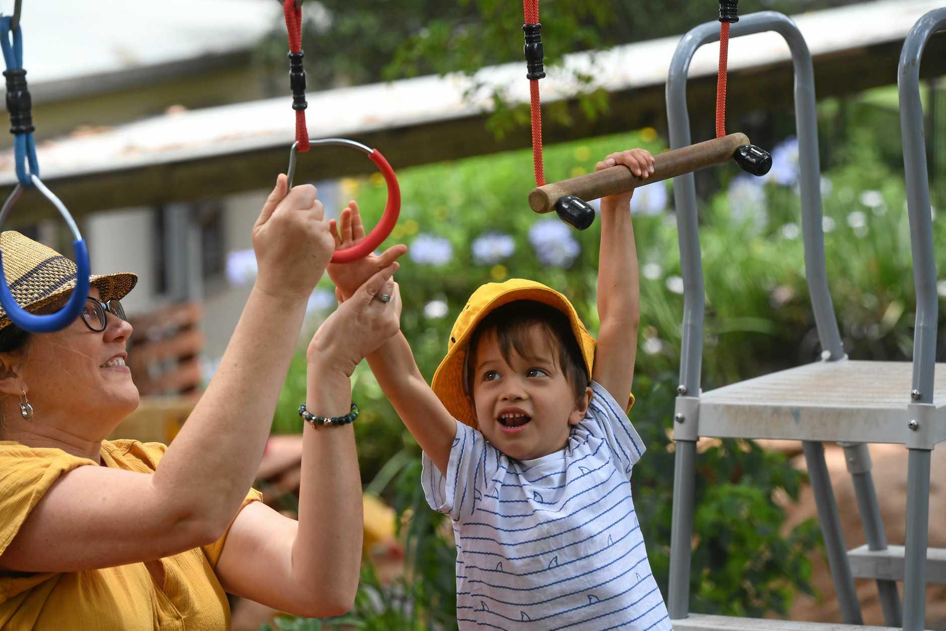 Finn deHeer, 5, enjoys some valuable outdoor playtime at Clunes Community Preschool.