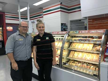Store Manager Craig Osbourne and team member Holly Henderson at the new 7-Eleven in Springfield.