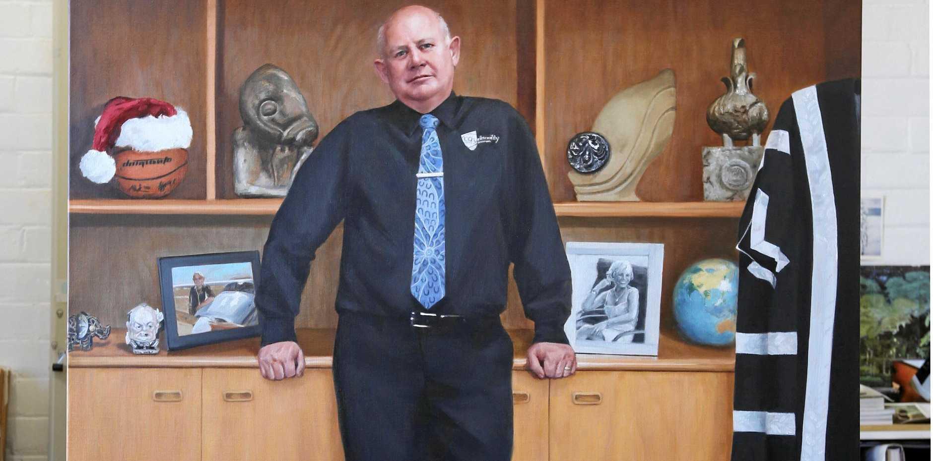 ON CANVAS: Professor Scott Bowman in his CQ University office.